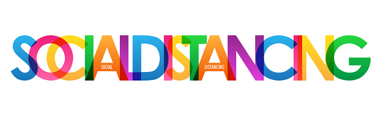 SOCIAL DISTANCING colorful typography banner
