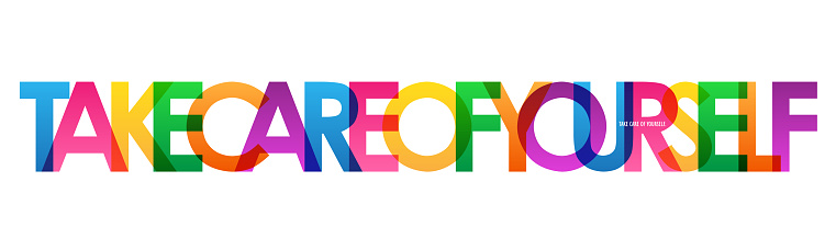 TAKE CARE OF YOURSELF! colorful typography banner