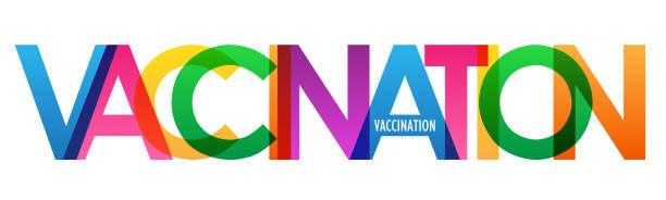 illustrations, cliparts, dessins animés et icônes de bannière colorée de typographie de vaccination - covid france