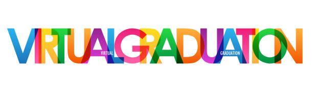illustrazioni stock, clip art, cartoni animati e icone di tendenza di virtual graduation colorful typography banner - esame maturità