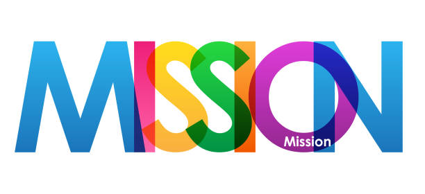 MISSION colorful typography banner MISSION colorful vector typography banner mission church stock illustrations