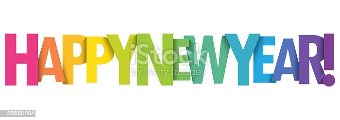 istock HAPPY NEW YEAR! colorful typography banner 1255031264