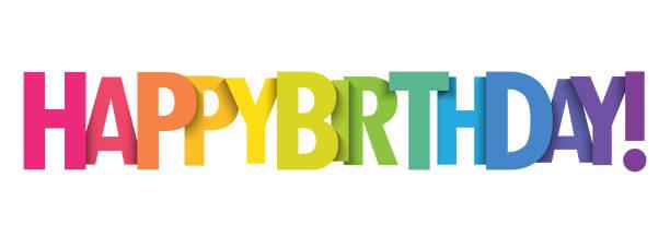 ilustraciones, imágenes clip art, dibujos animados e iconos de stock de ¡feliz cumpleaños! colorido estandarte tipográfico - cumpleaños