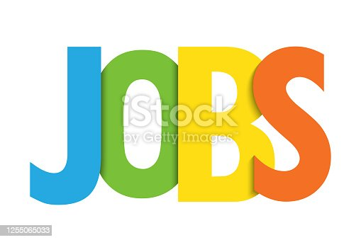 JOBS colorful vector typography banner