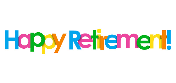 HAPPY RETIREMENT! colorful typography banner