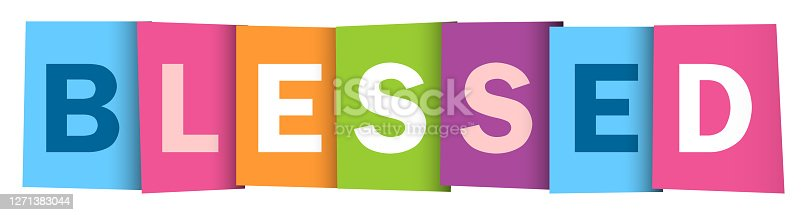 BLESSED colorful vector concept word typography banner