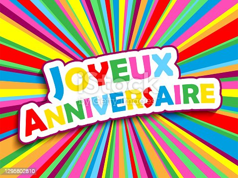 istock JOYEUX ANNIVERSAIRE! colorful typography banner (HAPPY BIRTHDAY! in French) 1295802810