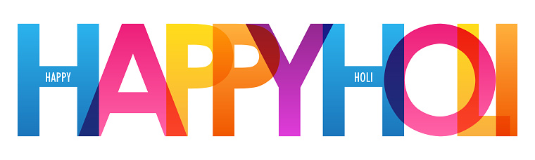 HAPPY HOLI colorful typography banner