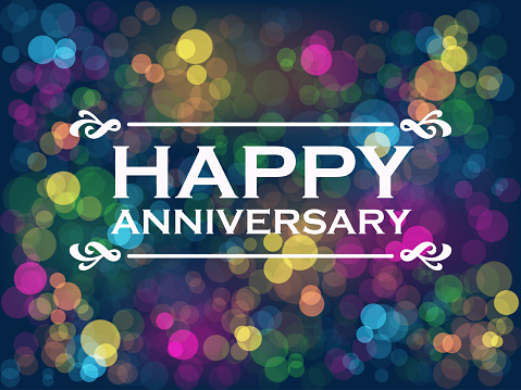 HAPPY ANNIVERSARY! vector typography on colorful bokeh light background