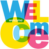 WELCOME colorful vector typography in a square