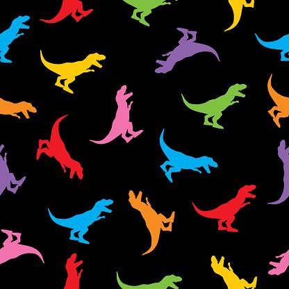 Colorful Tyrannosaurus Rex Seamless Pattern