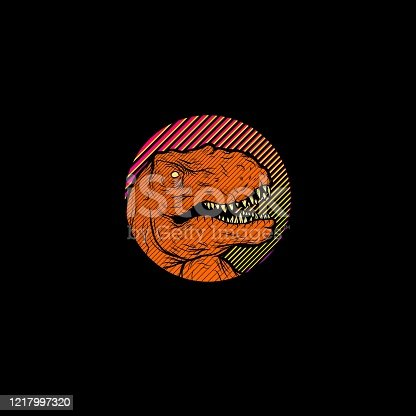 Colorful Tyrannosaurus Rex T-shirt Design Illustration