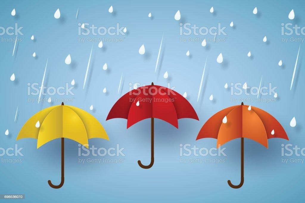 Ilustración de Paraguas De Colores Con La Lluvia y más banco de ...