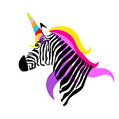 Colorful unicorn zebra.