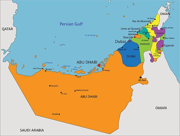 Colorido Emiratos Árabes Unidos mapa político con claramente etiquetado. - ilustración de arte vectorial