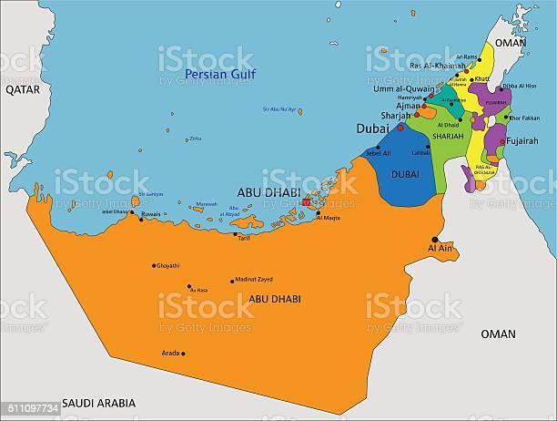 Emirati Arabi Dubai Cartina Geografica.Colorata Mappa Politica Degli Emirati Arabi Uniti Con Chiaramente Visibile Immagini Vettoriali Stock E Altre Immagini Di Abu Dhabi Istock