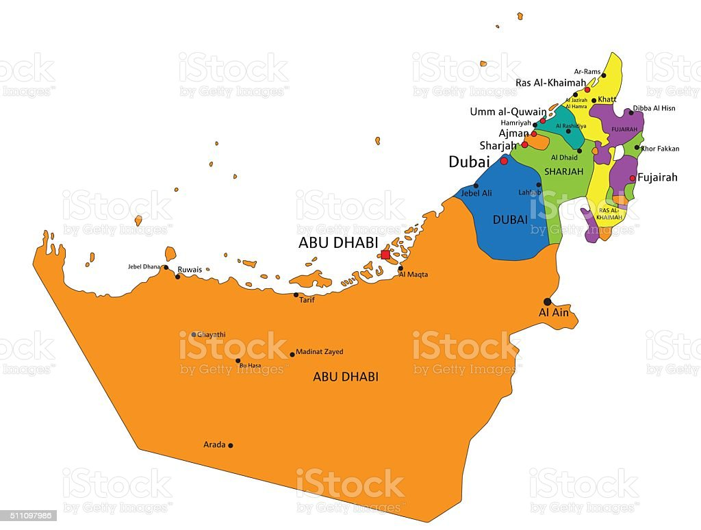 colorful united arab emirates political map with clearly labeled royalty free colorful united arab