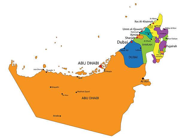 ilustraciones, imágenes clip art, dibujos animados e iconos de stock de colorido emiratos árabes unidos mapa político con claramente etiquetado. - mapa de oriente medio