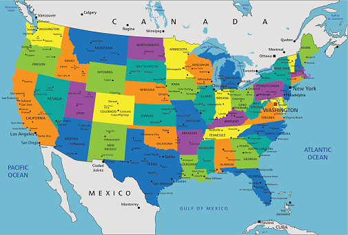 Colorful United States Of America Political Map Stock ... on united states canada map, united states russia map, united states map and oceans, united states pacific coast map, united states great lakes map, united states aleutian islands map, united states world map, rocky mountains map, united states north america map, united states nicaragua map, united states international date line map, united states hawaiian islands map, united states nigeria map, united states arctic map, united states animal map, united states dominican republic map, united states haiti map, united states italy map, united states columbia river map, united states argentina map,