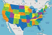 Colorful United States of America political map.