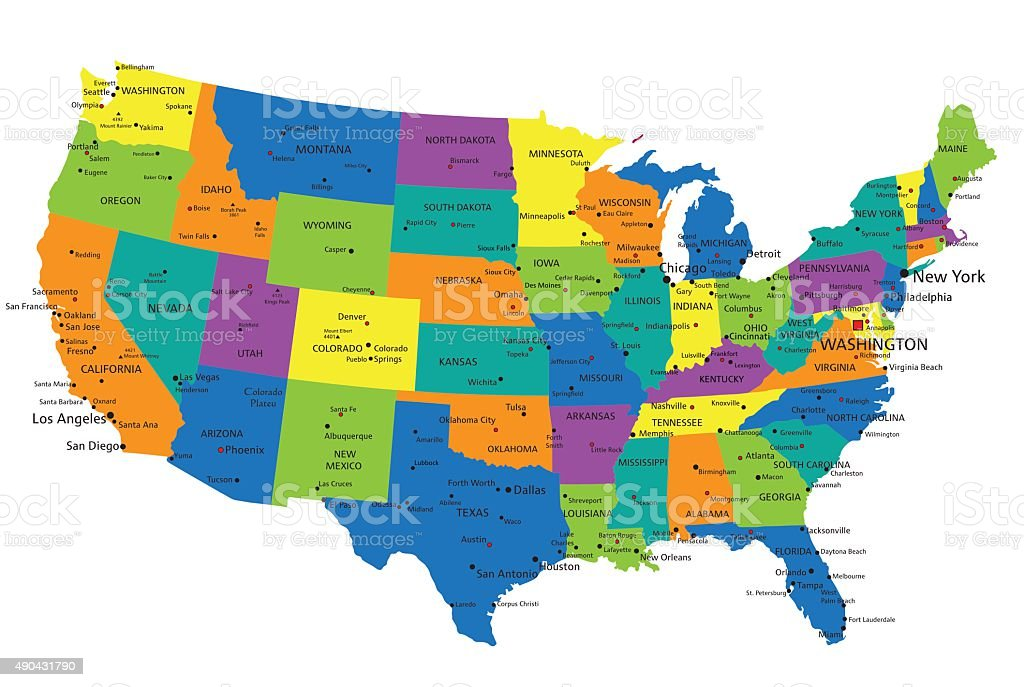 Political Map Of Usa 2015.Colorful United States Of America Political Map Stock Vector Art