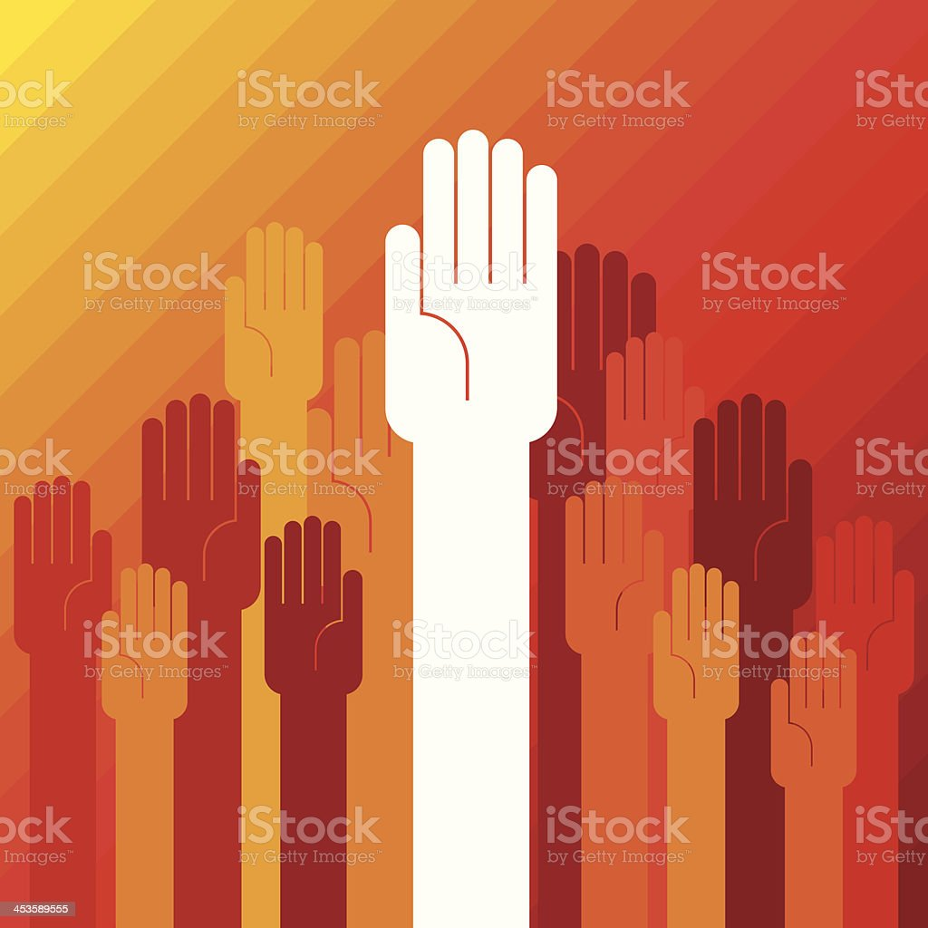 colorful up hand concept of democracy royalty-free stock vector art