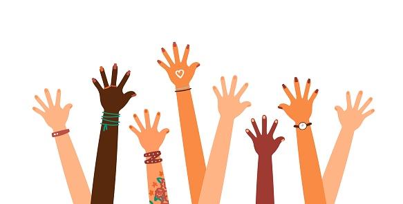 Colorful up hands set, vector illustration