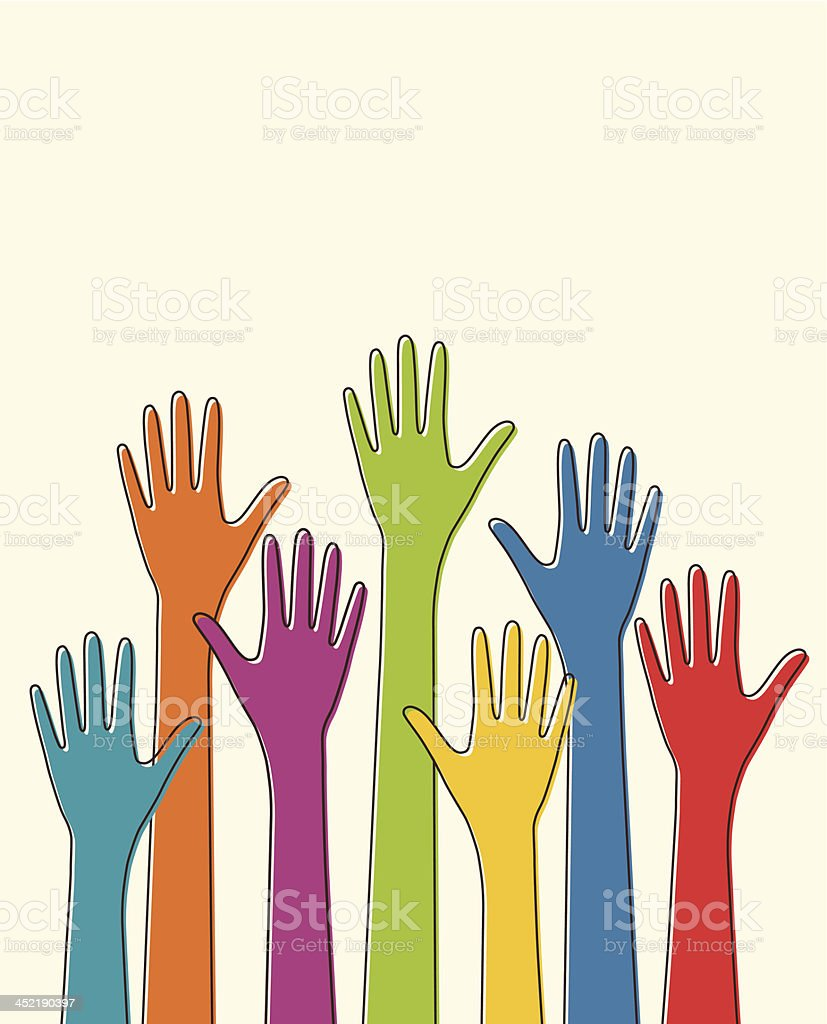 Colorful up hands royalty-free stock vector art