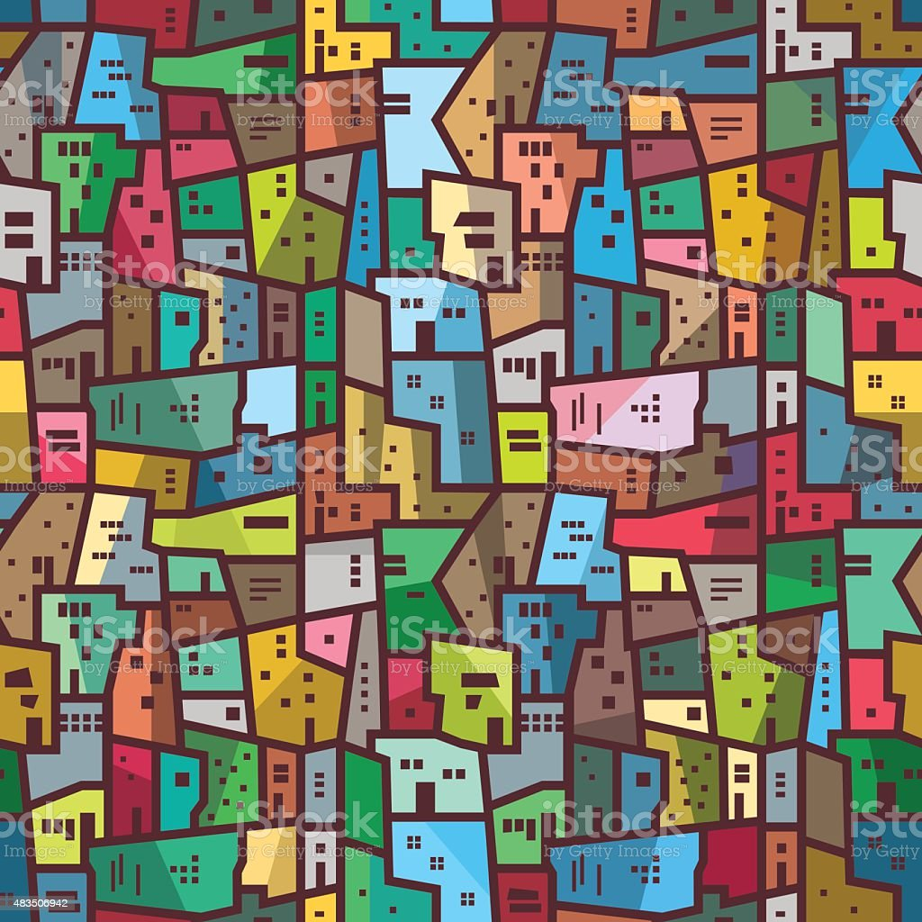 Colorful urban abstract pattern Seamless bright texture vector art illustration