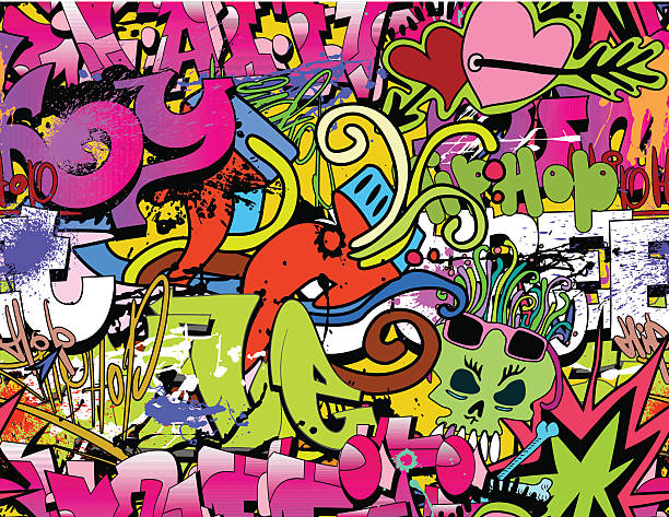 colorful urban graffiti background - graffiti backgrounds stock illustrations, clip art, cartoons, & icons