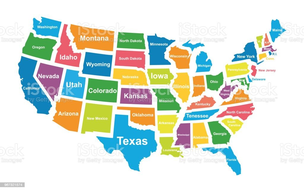 Colorful Map Of Usa.Colorful Usa Map With States Vector Illustration Stock Vector Art