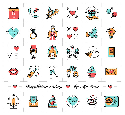 Colorful Valentine icons, flat design line thin style, love symbols