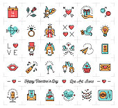 Valentine icon set, flat design line art thin style, Valentines day signs and love symbols, Wedding infographics. Colorful icons on a white background, Vector illustration