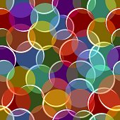 Colorful variegated seamless background with semitransparent circles, bubbles with white highlights, textile patterns, fabric modern ornament