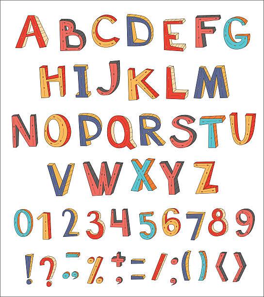 illustrazioni stock, clip art, cartoni animati e icone di tendenza di colorful vector abstract alphabet with numbers and symbols. - bambine africa