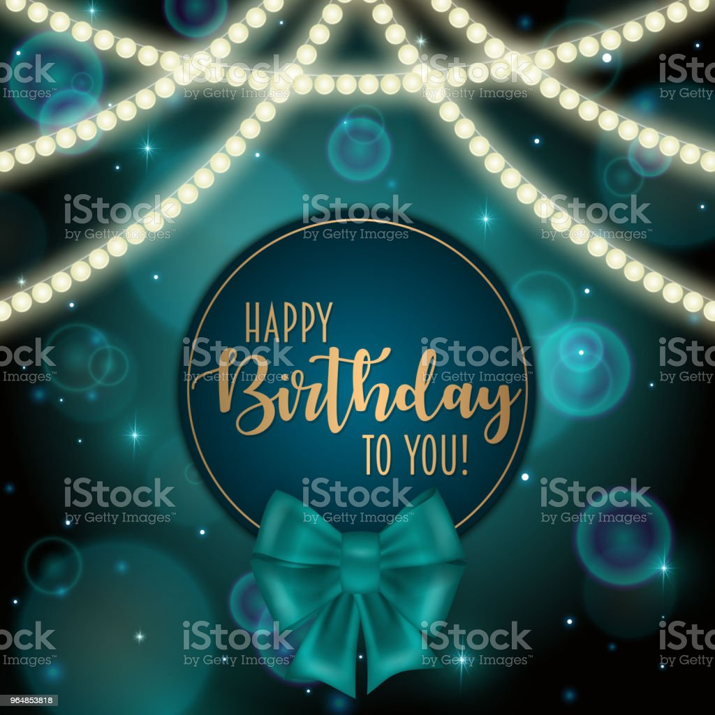 Colorful vector birthday card decorated with bow and glowing light bulbs design. royalty-free colorful vector birthday card decorated with bow and glowing light bulbs design stock vector art & more images of anniversary