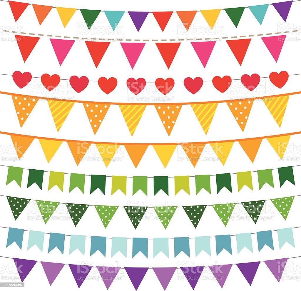 vector conjunto de Banderas coloridas bunting - ilustración de arte vectorial