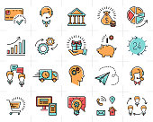 Colorful vector business icons set. Marketing, shopping, e-commerce and media isolated line art symbols, infographic icons