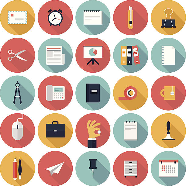 colorful vector business office flat icon set - office supply stock illustrations