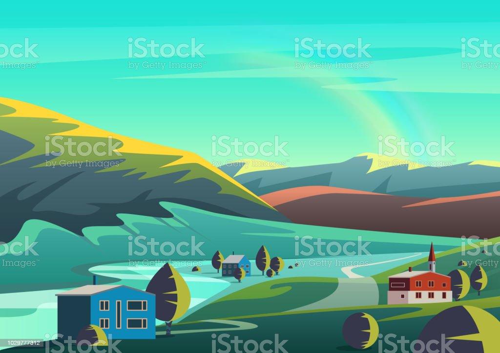 Vetores De Paisagem De Ilustracao Vetorial Colorido Dos Desenhos