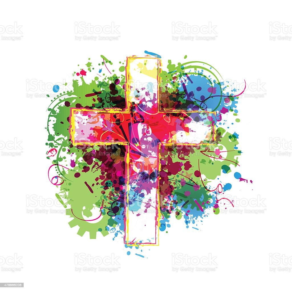 Colorful vector cross background vector art illustration