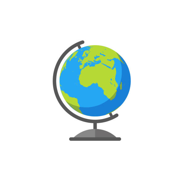Colorful Vector Earth Globe Colorful vector illustration of an earth globe in flat style standing stock illustrations