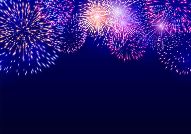Colorful vector firework on dark blue background Vector EPS 10 format. firework display stock illustrations
