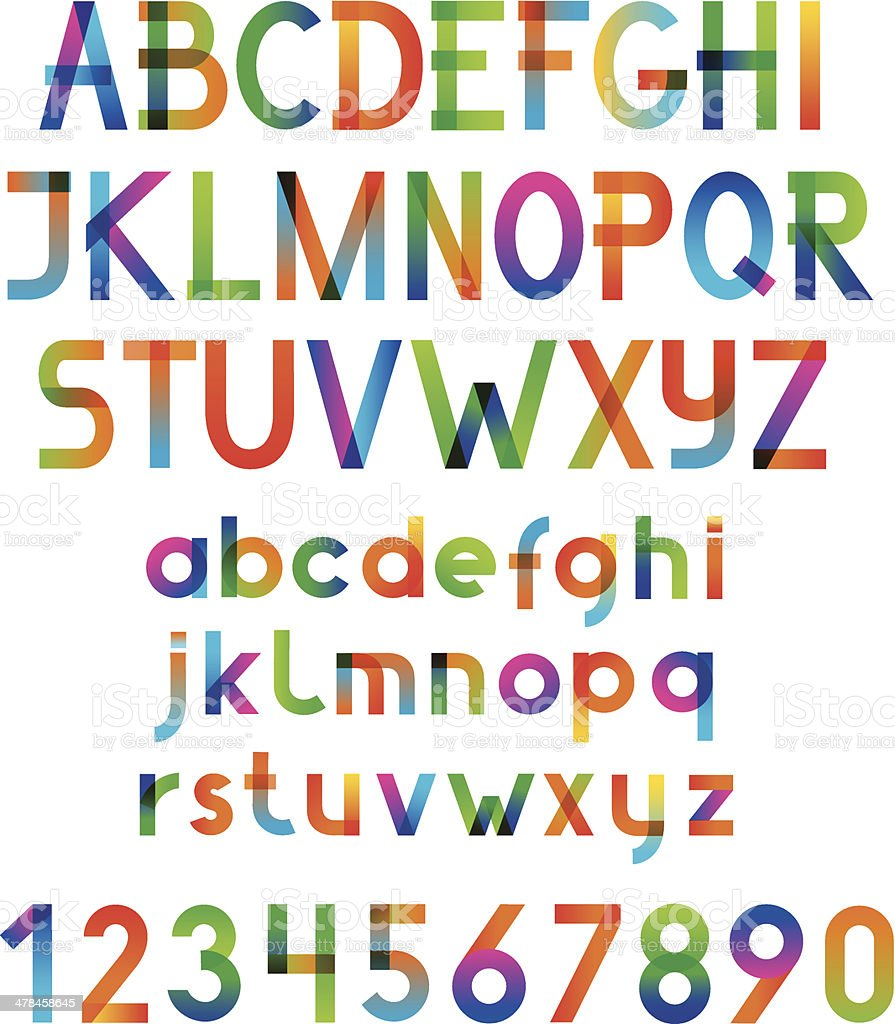 Colorful vector font and numbers. vector art illustration