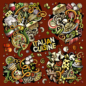 Colorful vector hand drawn doodles cartoon set of Italian food food combinations of objects and elements. All items are separate