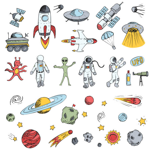 Colorful vector hand drawn doodles cartoon set space objects. Space ships, rockets, planets, flying saucers, cosmonauts, stars, comets, satellites, ufo etc. vector art illustration