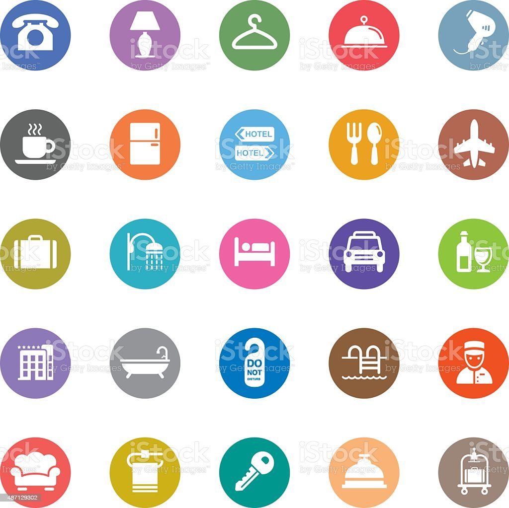 Colorful Vector Hotel Icons - 25 Icons vector art illustration