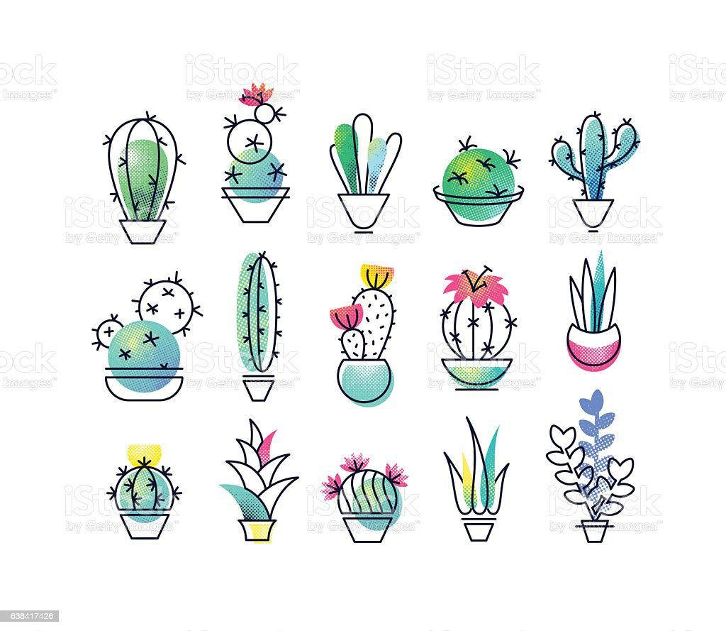 Colorful vector icons' set of indoor plants. vector art illustration
