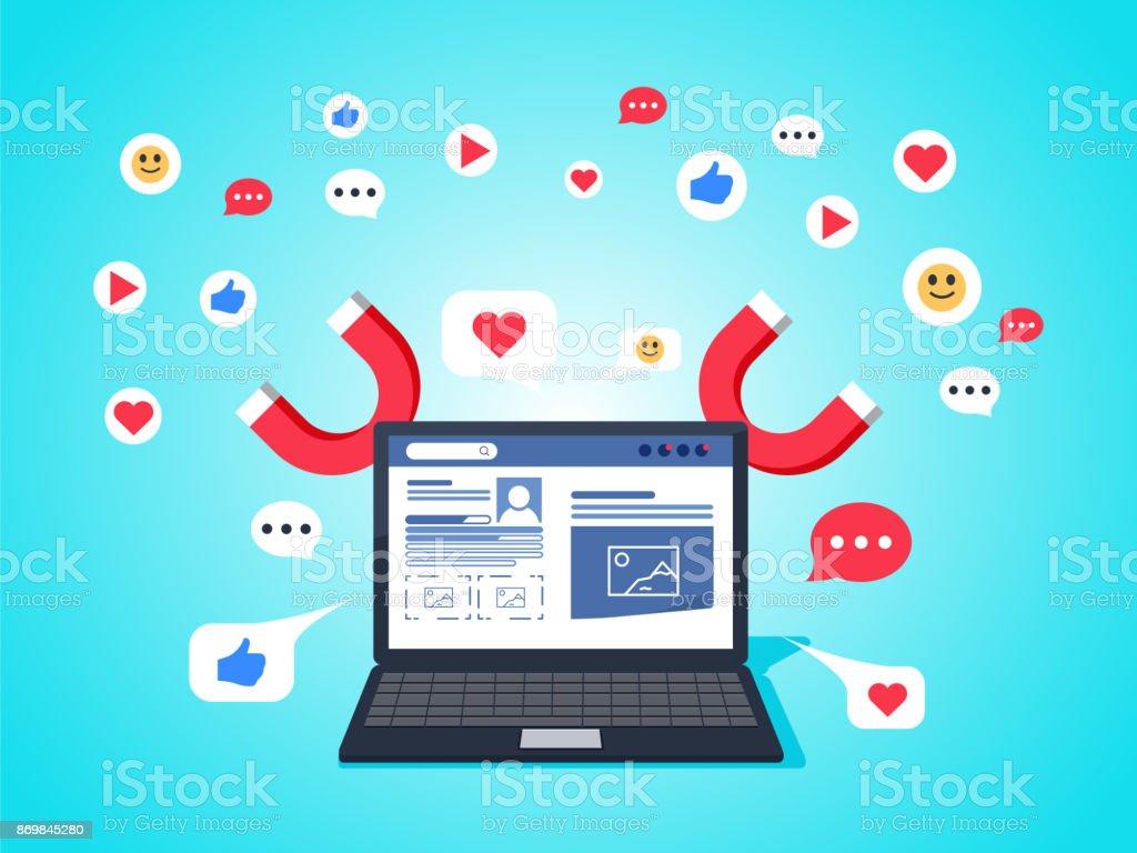 conceito de ilustração vetorial colorida para marketing digital, social campanha, envolvente com seguidores - ilustração de arte em vetor
