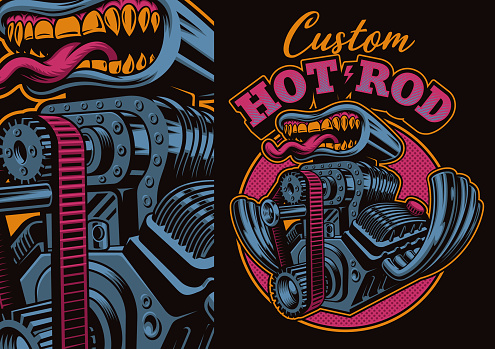 A colorful vector illustration of a cartoon hot rod engine